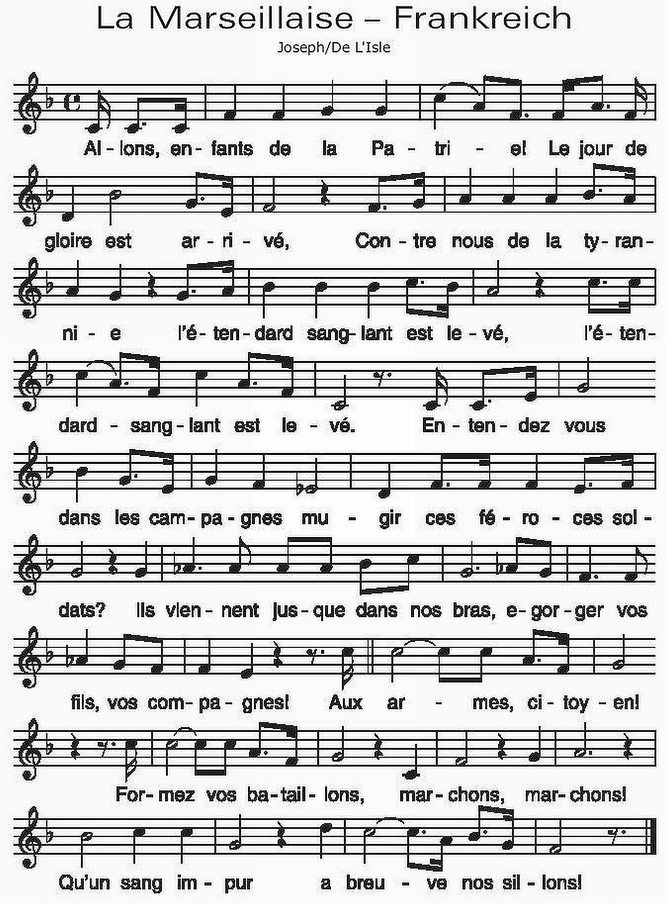 Franzosische hymne deutsch